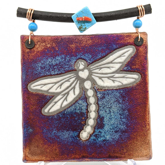 Raku Dreamcatcher Tile - Dragonfly