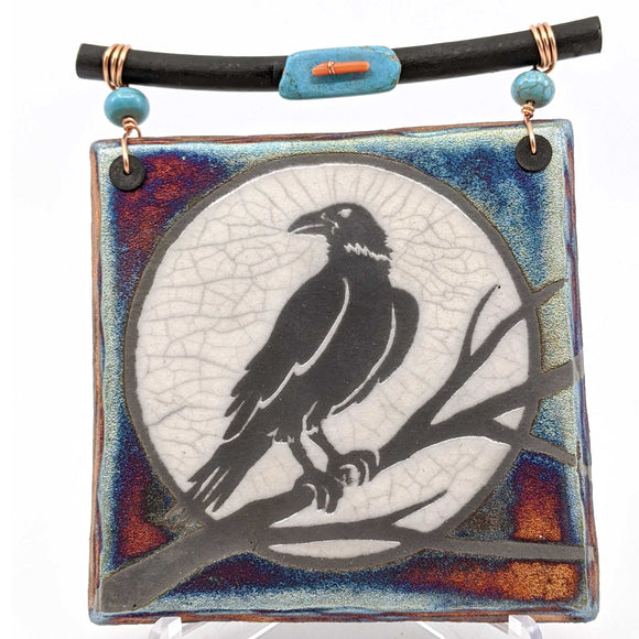 Raku Dreamcatcher Tile - Raven