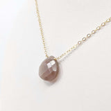 Chocolate Moonstone Briolette Necklace GF