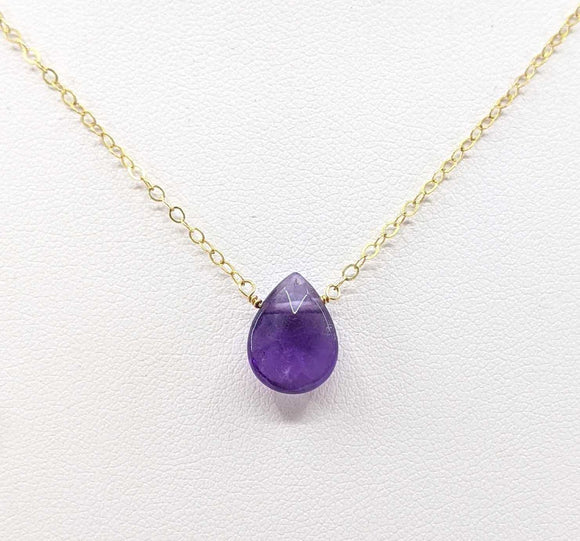 Amethyst Briolette Necklace GF