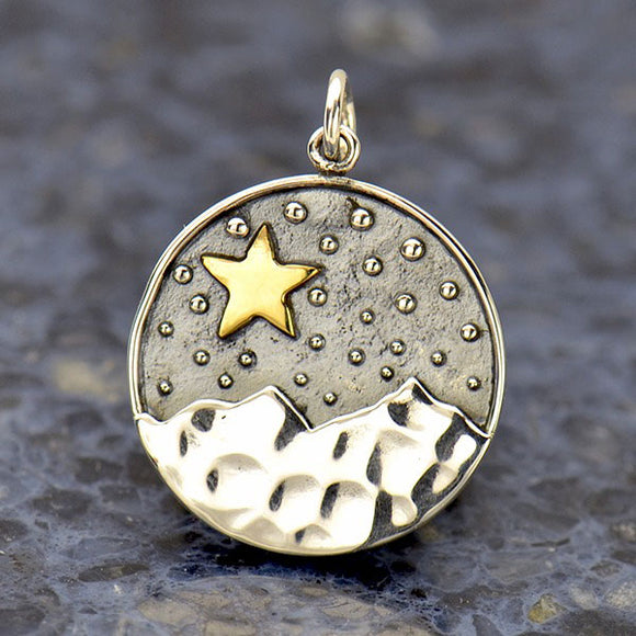 Sterling Silver Mountain Pendant with Bronze Star