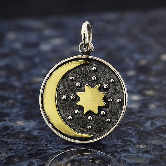 Silver Talisman Charm with Bronze Sun and Moon