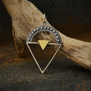 Silver Triangle Charm with Granulation and Bronze