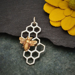 Sterling Silver Honeycomb Pendant with Bronze Bee