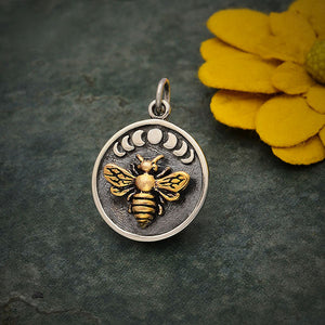 Sterling Silver Moon Phase Charm with Bronze Bee