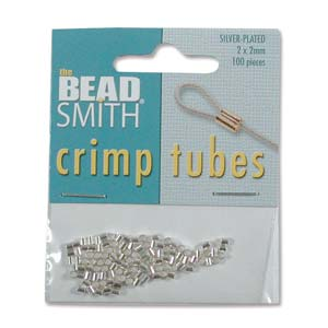 Crimp Beads 2mm Tube Silver Plate