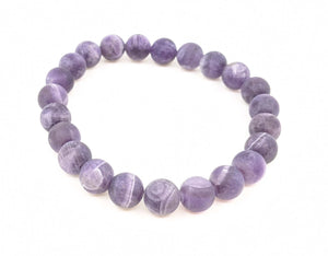 Amethyst Matte Finish 8mm Stretch Bracelet