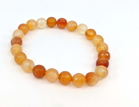 Carnelian Stretch 8mm Bracelet (Faceted Stones)