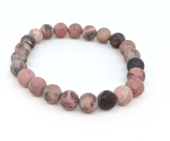 Rhodonite 8mm Matte Finish Stretch Bracelet