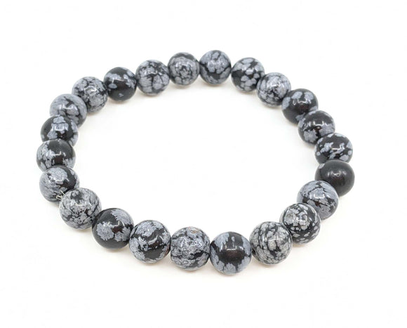 Snowflake Obsidian 8mm Stretch Bracelet