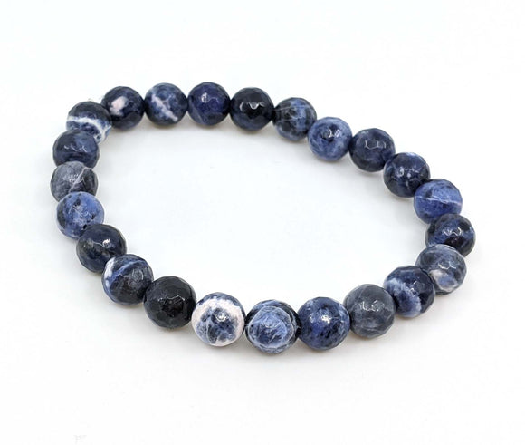 Sodalite 8mm Smooth Faceted Stretch Bracelet