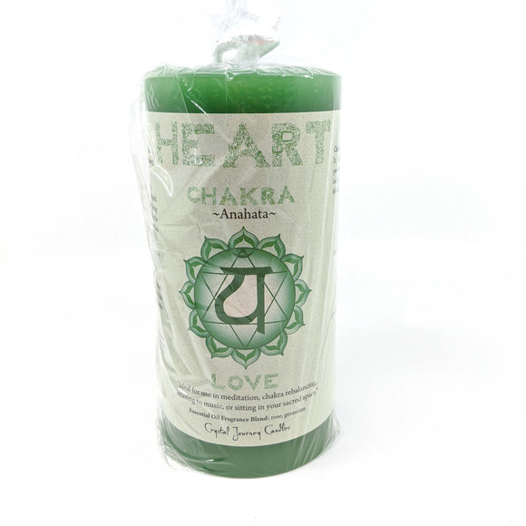 Crystal Journey Chakra Pillar Candle - Heart