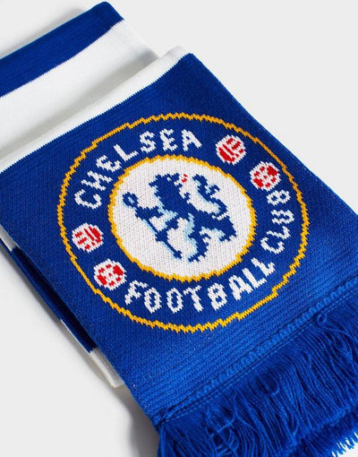 Chelsea Striped Crest Bar Scarf - Blue/White