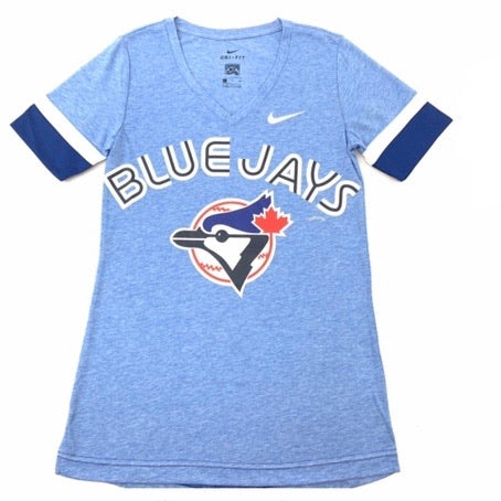 Womens Toronto Blue Jays Nike Dri-Fit Tri-Blend V-Neck Cooperstown Collection Baby Blue T-Shirt