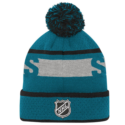 Youth San Jose Sharks Teal Breakaway Cuffed Knit Hat with Pom