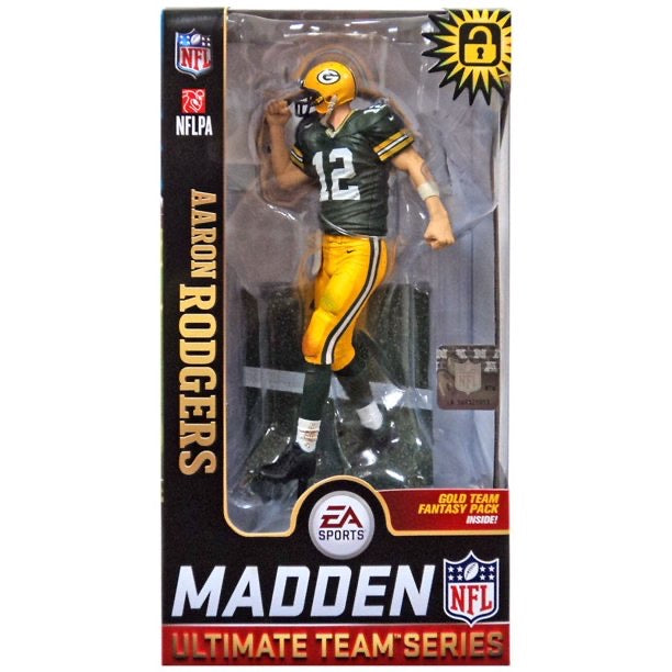 2019 NFL Madden Ultimate Gold Team Green Bay Packers Aaron Rodgers Variant Figure