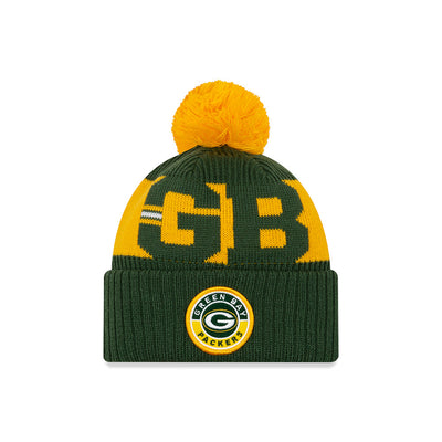 Green Bay Packers New Era Green/Yellow 2020 NFL Sideline - Official Sport Pom Cuffed Knit Toque