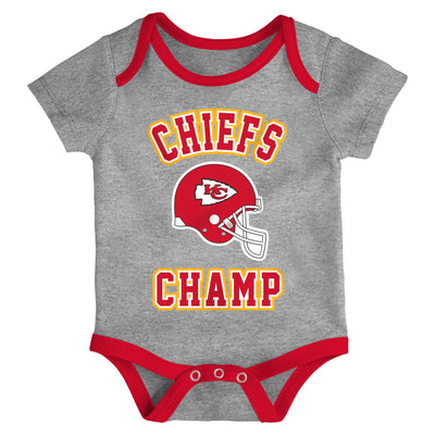 Infant Kansas City Chiefs Red/Gold/Heathered Gray Champ 3-Piece Bodysuit Set