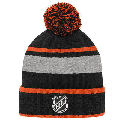 Youth Philadelphia Flyers Black Breakaway Cuffed Knit Hat with Pom