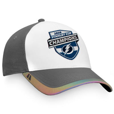 Tampa Bay Lightning Fanatics Branded White/Gray 2020 Stanley Cup Champions - Locker Room Adjustable Hat