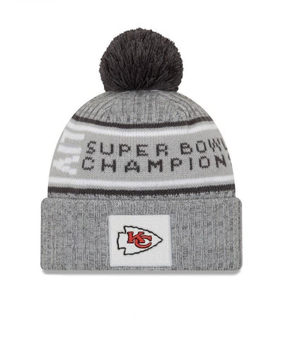 Kansas City Chiefs New Era Gray Super Bowl LIV Champions Parade Pom Knit Hat