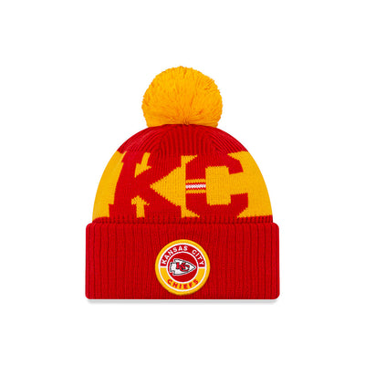 Kansas City Chiefs New Era Red/Gold 2020 NFL Sideline - Official Sport Pom Cuffed Knit Toque