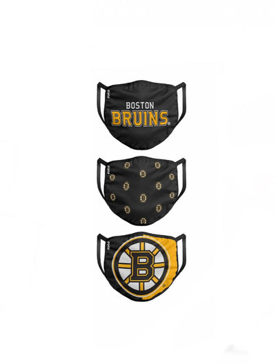 Boston Bruins FOCO NHL Face Mask Covers Adult 3 Pack