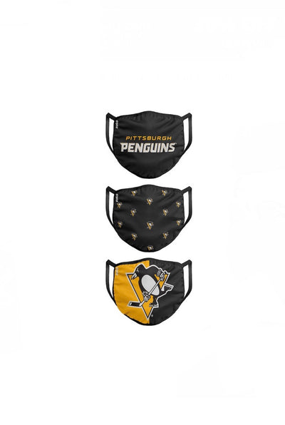 Youth Pittsburgh Penguins FOCO NHL Face Mask Covers 3 Pack
