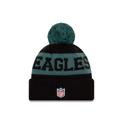 Philadelphia Eagles New Era Black/Midnight Green 2020 NFL Sideline - Official Sport Pom Cuffed Knit Toque