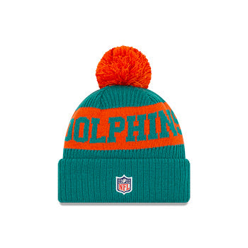 Miami Dolphins New Era Teal/Orange 2020 NFL Sideline - Official Sport Pom Cuffed Knit Toque