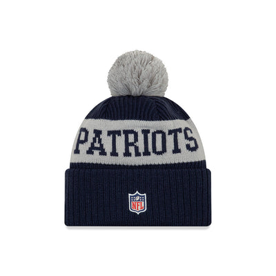 New England Patriots New Era Navy/Gray 2020 NFL Sideline - Official Sport Pom Cuffed Knit Toque