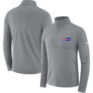 Buffalo Bills Nike Heathered Gray Fan Gear Element Performance Half-Zip Long Sleeve Shirt