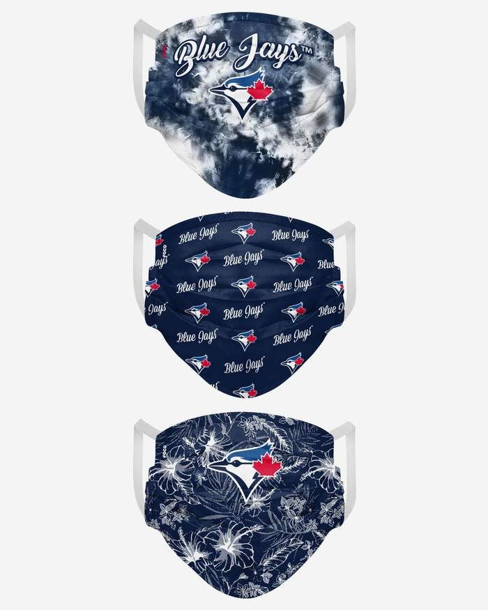 Womens Toronto Blue Jays  Match Day FOCO MLB Face Mask Covers Adult 3 Pack