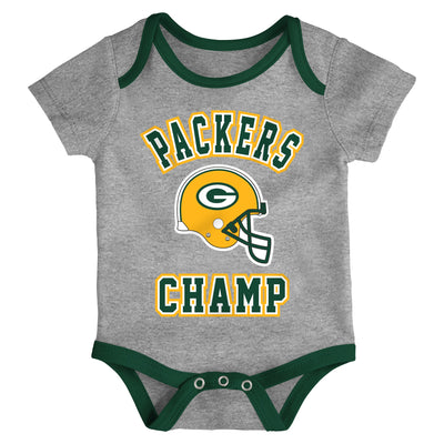 Infant Green Bay Packers Yellow/Green/Heathered Gray Champ 3-Piece Bodysuit Set