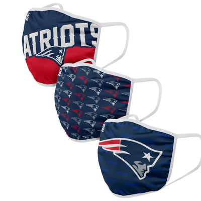 New England Patriots FOCO NFL Face Mask Covers Adult 3 Pack
