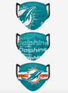 Miami Dolphins Match Day FOCO NFL Face Mask Covers Adult 3 Pack