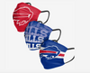 Buffalo Bills Match Day FOCO NFL Face Mask Covers Adult 3 Pack