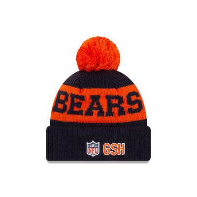Chicago Bears New Era Navy/Orange 2020 NFL Sideline - Official Alternate B Logo Sport Pom Cuffed Knit Toque