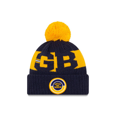 Green Bay Packers New Era Navy/Yellow 2020 NFL Sideline - Official Alternate Logo Sport Pom Cuffed Knit Toque