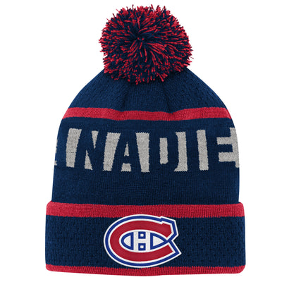 Youth Montreal Canadiens Navy Breakaway Cuffed Knit Hat with Pom
