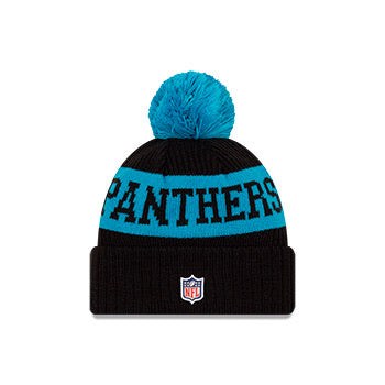 Carolina Panthers New Era Black/Blue 2020 NFL Sideline - Official Sport Pom Cuffed Knit Toque