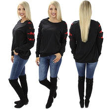 Load image into Gallery viewer, *CLEARANCE* Long Sleeve Buffalo Plaid Cut TEE - The Hot Polka Dot