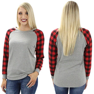 *CLEARANCE* Long Sleeve Buffalo Plaid Flannel Sleeve Top - The Hot Polka Dot