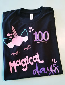 Girls 100th Day of School Shirt, 100 Magical Days, 100th Day Unicorn Shirt - The Hot Polka Dot