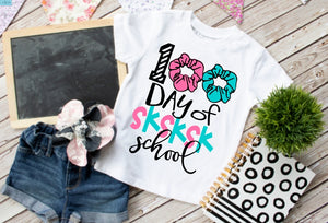 Adults & Girls 100th Day of School Shirt, 100 Days of Scrunchies SKSK School - The Hot Polka Dot