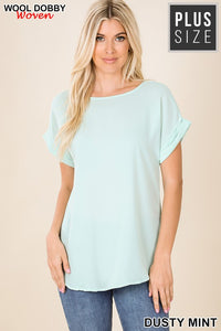 Women's DUSTY MINT Woven Short Sleeve Top, Regular & Plus Size - The Hot Polka Dot