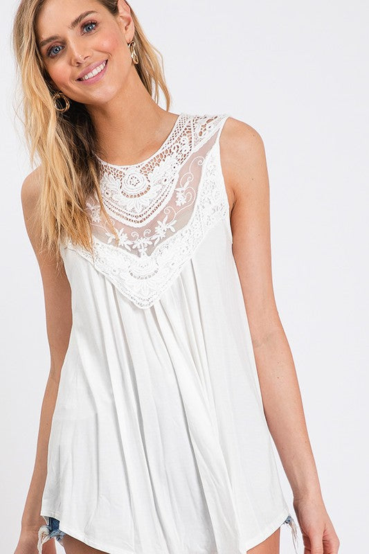 Off White Lovely Lace Tank Top - The Hot Polka Dot