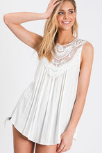 Load image into Gallery viewer, Off White Lovely Lace Tank Top - The Hot Polka Dot