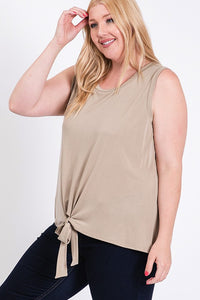 Plus Size Boutique, Women's TAUPE Sleeveless Top with Front Tie Detail - The Hot Polka Dot