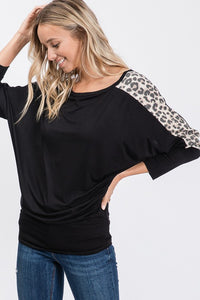 Leopard Print Off The Shoulder Black Top - The Hot Polka Dot